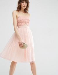 Кружевное приталенное платье миди ASOS - Телесный