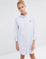Платье-рубашка кроя оversize с клубникой Lazy Oaf - Синий