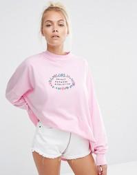 Лонгслив с высокой горловиной и принтом Lazy Oaf Awkward - Розовый