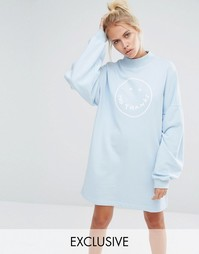 Oversize-свитшот с принтом No Thanks Lazy Oaf - Синий