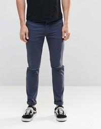 Темно-синие облегающие джинсы с рваными коленями ASOS - Темный синий
