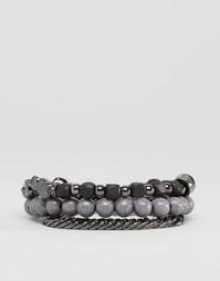 Набор серых браслетов из бусин Icon Brand - Серый