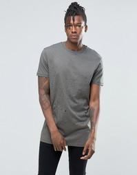 Удлиненная футболка цвета хаки с принтом ASOS - Камуфляжный хаки