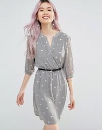 Платье с рукавами 3/4 и блестящим принтом птиц Yumi - Серый