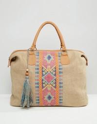 Дорожная сумка из джута с вышивкой крестиком America & Beyond - Мульти
