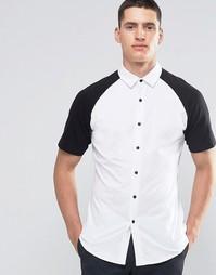 Трикотажная рубашка зауженного кроя с черными рукавами реглан ASOS