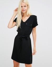 Платье с карманами и завязкой на талии b.Young Esme - Черный