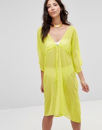 Платье-кафтан миди с завязкой Twin Sister - Лайм