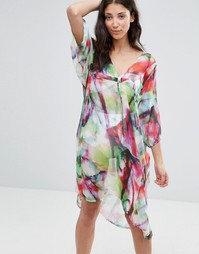 Платье-кафтан миди с завязкой Twin Sister - Неоновые краски