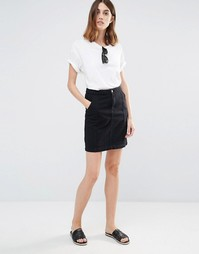 Vila Plait Detail Denim Pencil Skirt - Черный