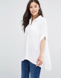 Прямая рубашка из фактурной ткани Soaked in Luxury - Lily white