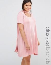 Свободное платье с горловиной‑чокером Boohoo Plus - Сумеречно-розовый