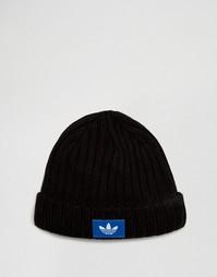 Черная шапка-бини с трилистником adidas Originals AY9308 - Черный