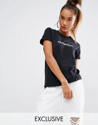 Футболка бойфренда с принтом Antisocial Adolescent Clothing - Черный