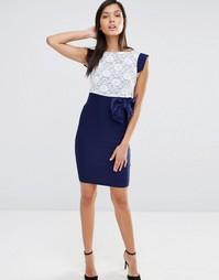 Платье с кружевным топом и коротким рукавом Vesper - Темно-синий