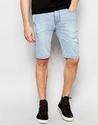 Рваные супероблегающие джинсовые шорты ASOS - Светло-голубой