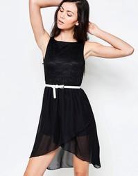 Короткое приталенное платье с кружевным верхом Jasmine - Черный