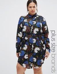 Платье-рубашка с цветочным принтом Praslin Plus - Черный мульти