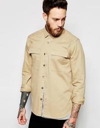 Песочная рубашка в стиле милитари с длинными рукавами ASOS - Stone