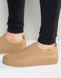 Бежевые эластичные кроссовки-слипоны из искусственной замши ASOS