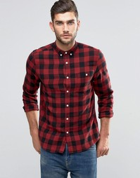 ASOS Buffalo Check Shirt In Red With Long Sleeves In Regular Fit