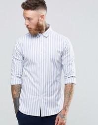 Стретчевая рубашка слим в широкую полоску с длинными рукавами ASOS