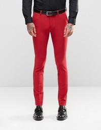 Красные супероблегающие брюки ASOS - Красный
