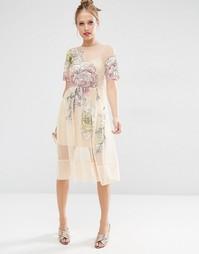 Сетчатое платье миди с цветочной вышивкой ASOS SALON - Мульти