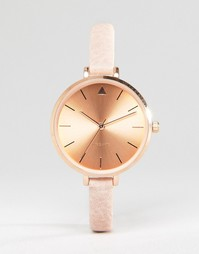 ASOS Tonal Large Face Skinny Strap Watch With Rose Gold Detail
