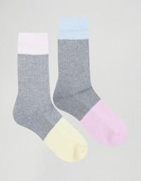 2 пары спортивных носков со вставками из крученой пряжи ASOS - Мульти