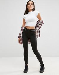 Эластичные зауженные брюки с высокой талией и молниями ASOS - Черный