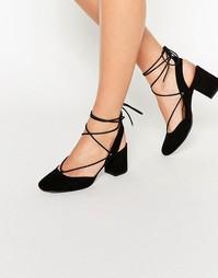 Туфли на каблуке со шнуровкой ASOS SERENE - Черный