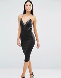 Платье миди на бретельках с V-образным вырезом AX Paris - Черный