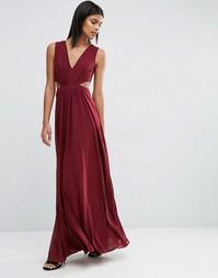 Платье макси с разрезом сбоку ASOS - Темно-бордовый