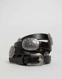 Ремень с металлическими пряжками ASOS - Черный