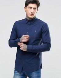 Синяя оксфордская рубашка слим с добавлением черных нитей Farah