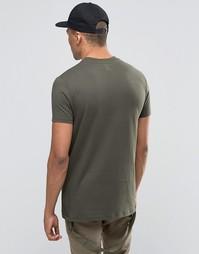 Удлиненная футболка цвета хаки с широкой отделкой горловины ASOS