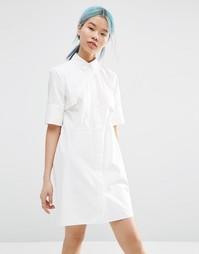 Платье-рубашка с асимметричной отделкой спереди ASOS WHITE - Белый