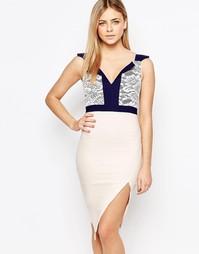 Платье-футляр миди с кружевным топом 2 в 1 Vesper