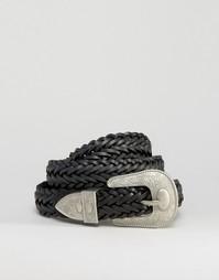Кожаный плетеный ремень в стиле вестерн ASOS - Черный