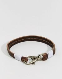 Кожаный браслет с металлическим крючком Jack & Jones - Черный