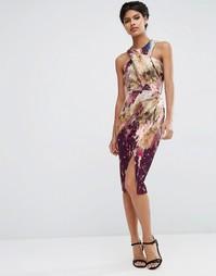 Платье-футляр миди с запахом на топе и мраморным принтом ASOS - Мульти