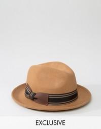 Шляпа-трилби с полосатой лентой Reclaimed Vintage - Коричневый