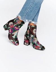 Ботильоны на каблуке с вышивкой Daisy Street - Черный цветочный