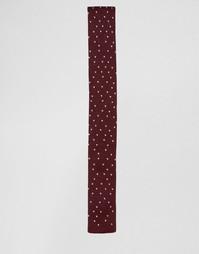 Бордовый трикотажный галстук в крапинку ASOS - Burgundy