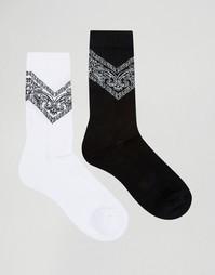 2 пары спортивных носков с бандановым принтом ASOS - Белый