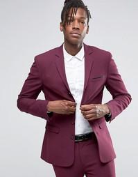 Супероблегающий пиджак ягодного цвета с четырьмя пуговицами ASOS