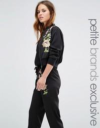 Куртка-пилот с цветочной вышивкой Glamorous Petite - Черный