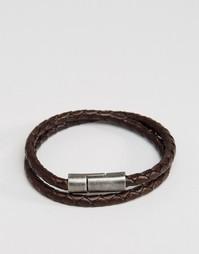Коричневый кожаный браслет в два оборота Jack & Jones - Коричневый