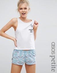 Пижамные футболка и шорты с принтом Unicorn Fan Club ASOS PETITE